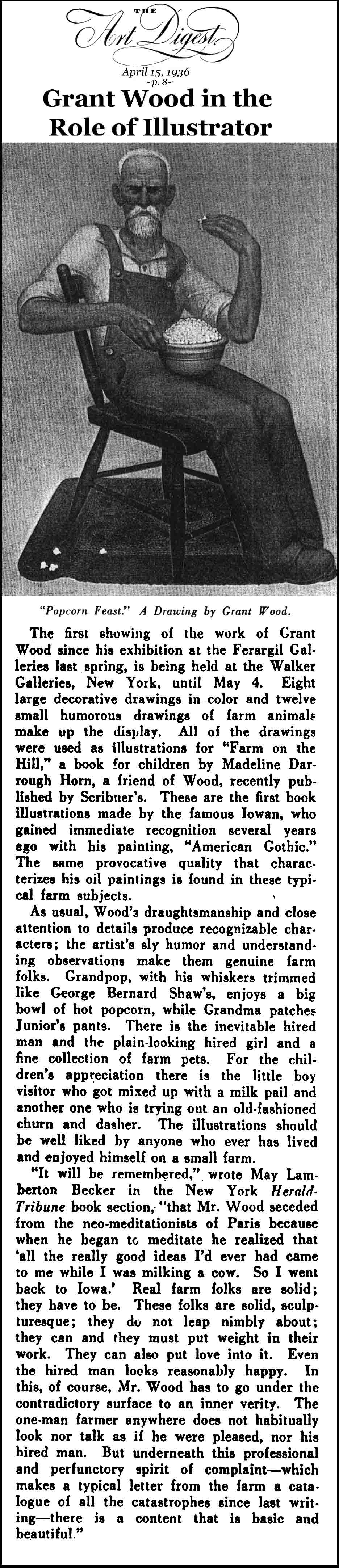 Grant Wood: Iowa as Muse (Art Digest, 1936)