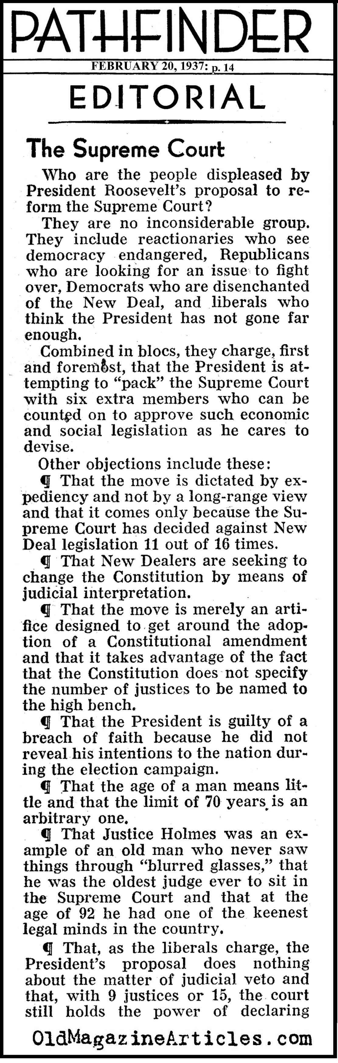 The Critics of FDR's Supreme Court Scheme (Pathfinder Magazine, 1937)