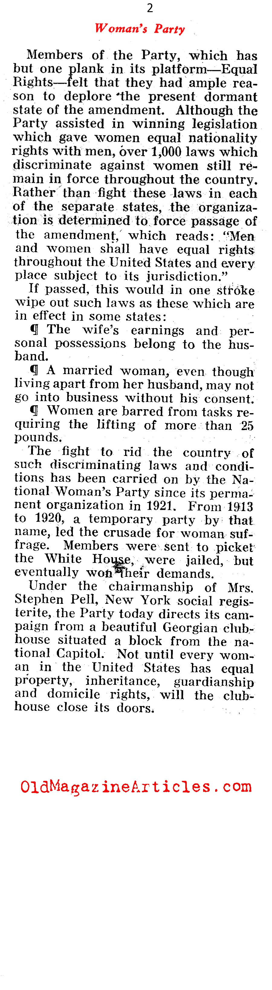 ''The Equal Rights Amendment'' <BR>Voted Down <BR>(Pathfinder Magazine, 1937)