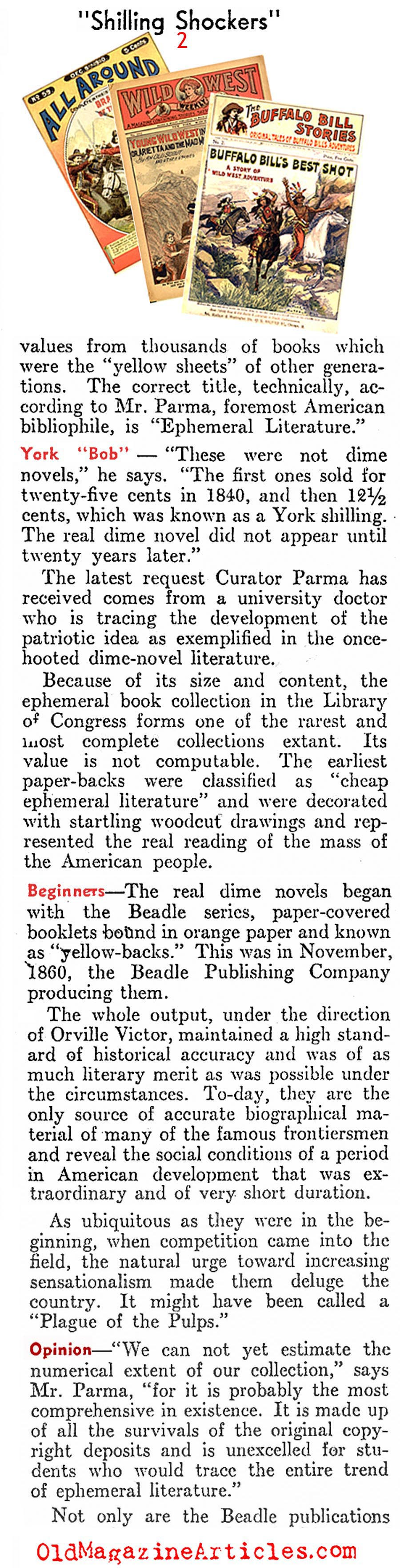 Library of Congress Salutes the Dime Novel (Literary Digest, 1937)
