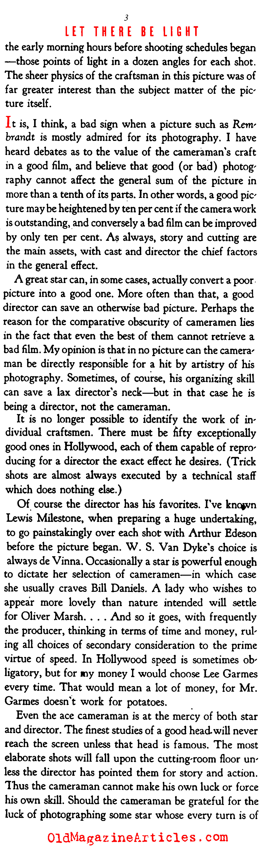 When Prestige was Thrust Upon Hollywood's ''Cameramen'' (Stage Magazine, 1937)