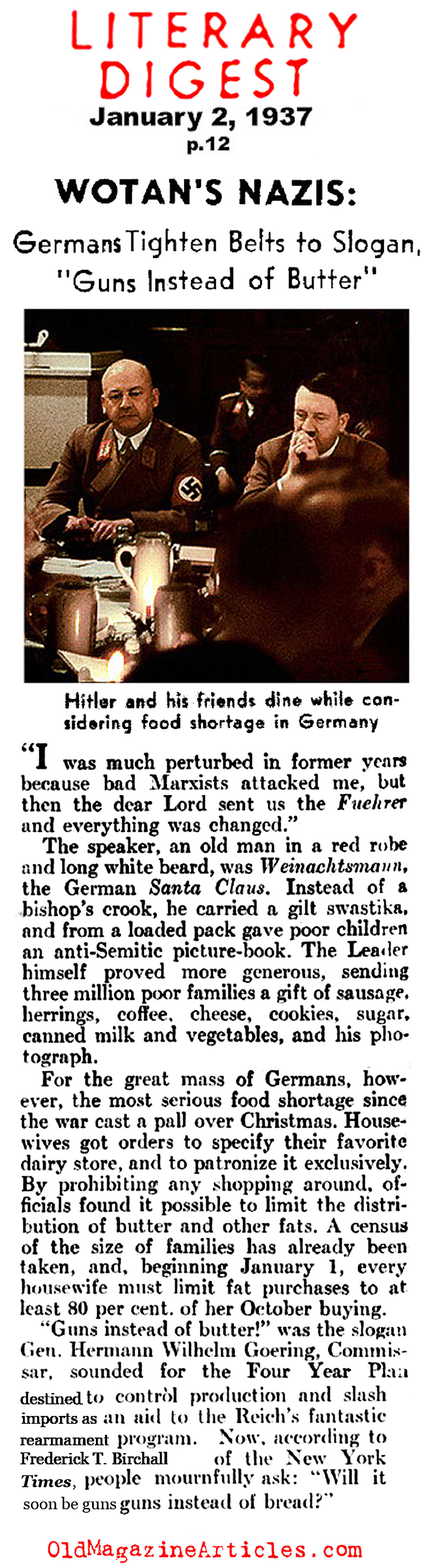 Food Shortages in the Third Reich (Literary Digest, 1937)