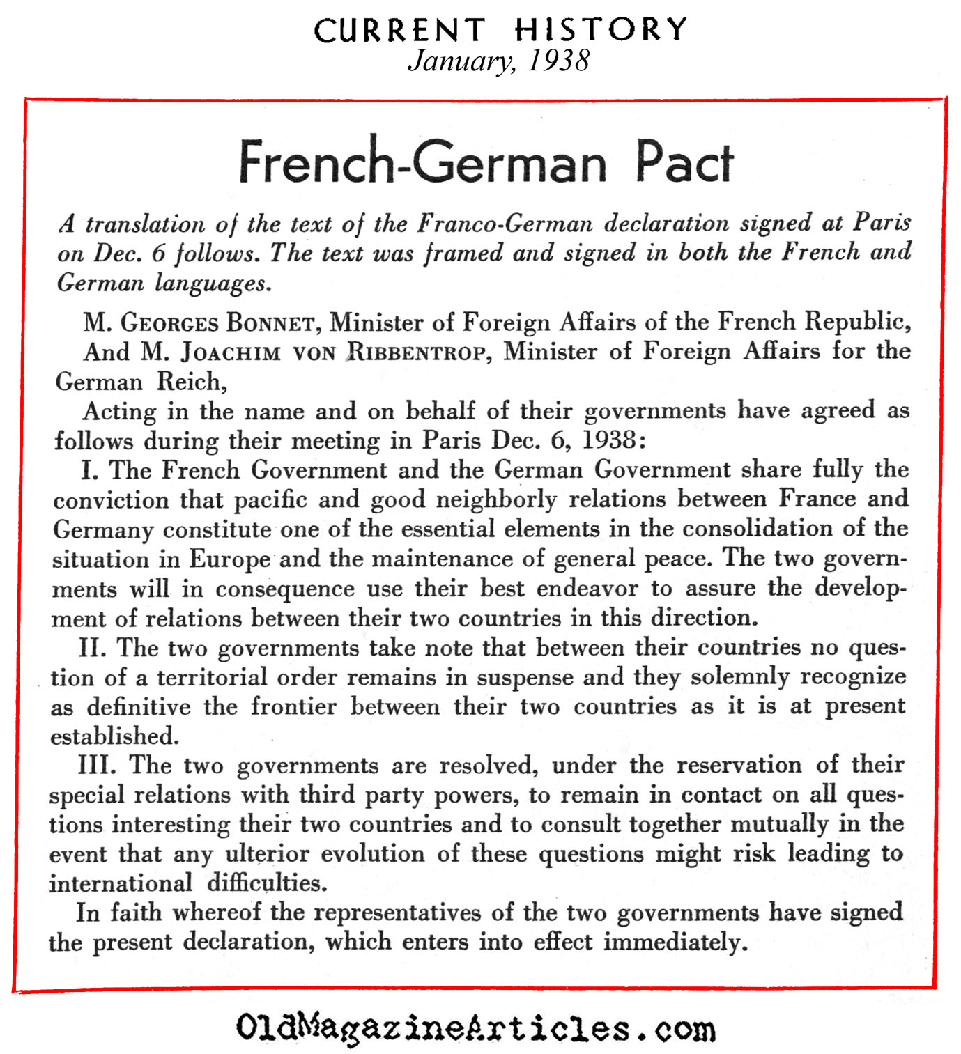 The French-German Non-Aggression Pact (Current History, 1938)