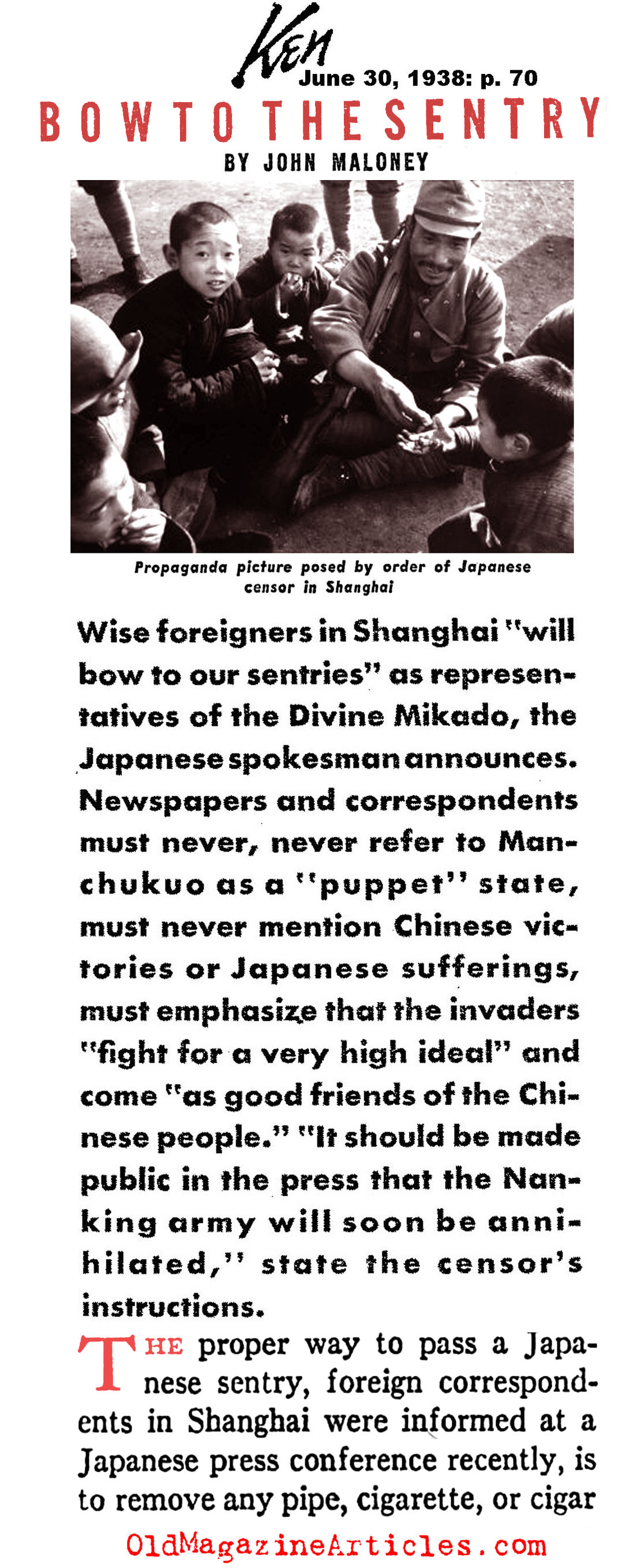 Censors of the Japanese War Machine (Ken Magazine, 1938)