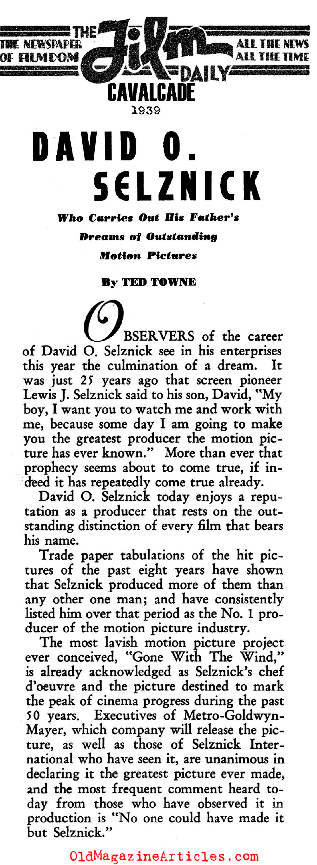 The Producer: David O. Selznick (Film Daily, 1939)