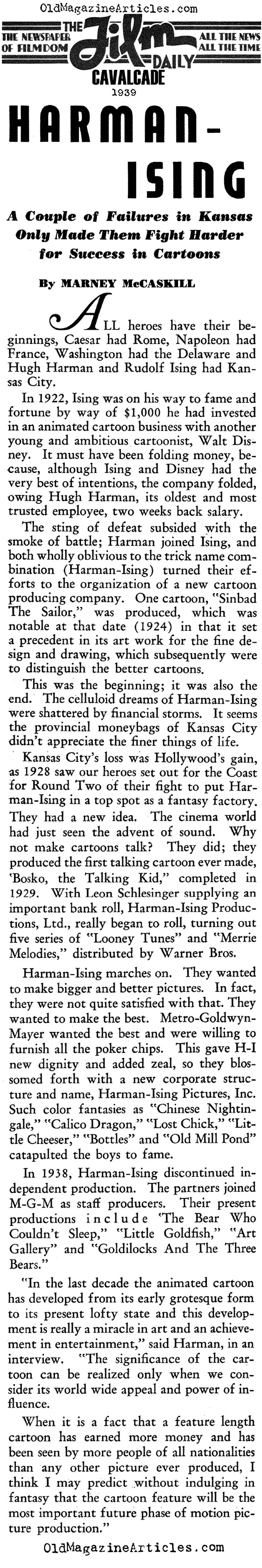Hugh Harmon & Rudolf Ising: Animators (Film Daily, 1939)