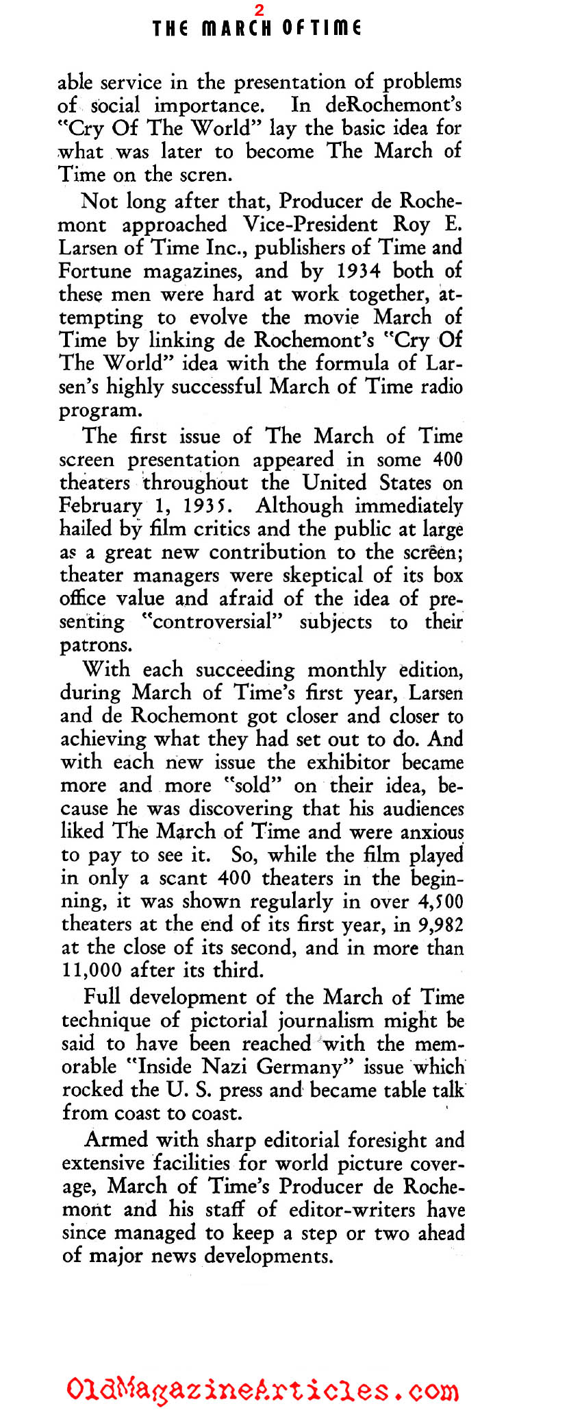 The March of Time: Newsreel Journalism (Film Daily, 1939)