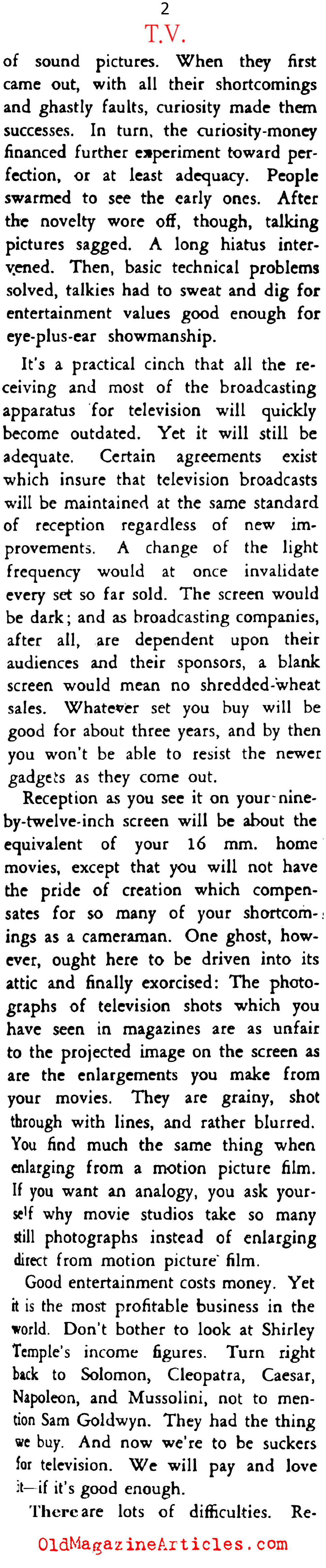 Anticipating the Television Juggernaut  (Stage Magazine, 1939)