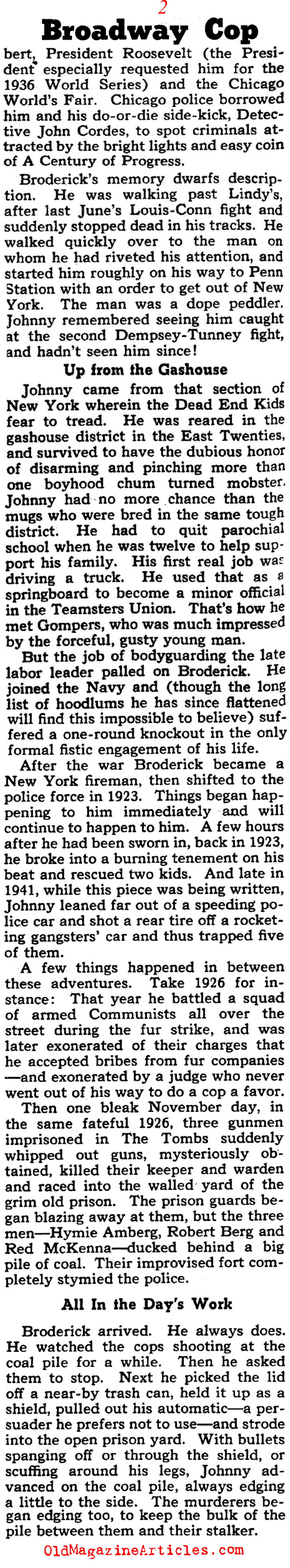 One Tough New York City Cop (Collier's Magazine, 1941)