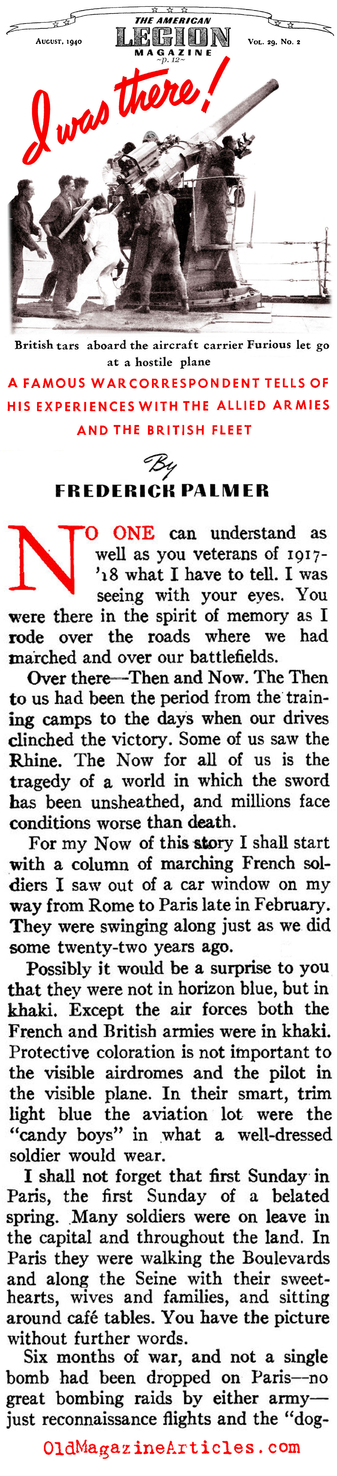 With the French as Their Army Collapsed  (American Legion Weekly, 1940)