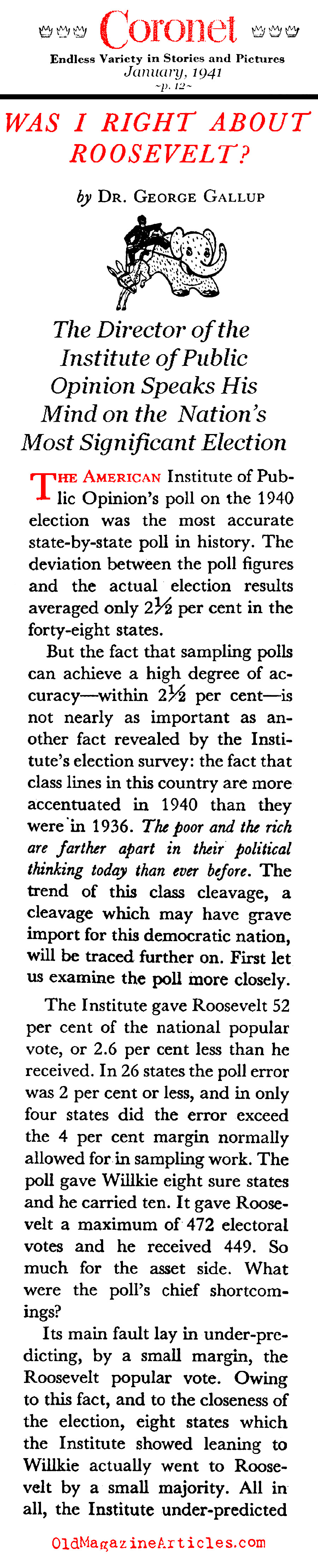 The 1940 Election Polls and FDR (Coronet Magazine, 1941)