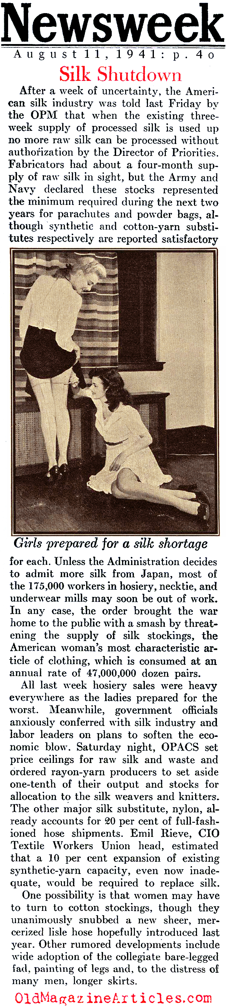 Silk Disappears From The Shelves (Newsweek Magazine, 1941)