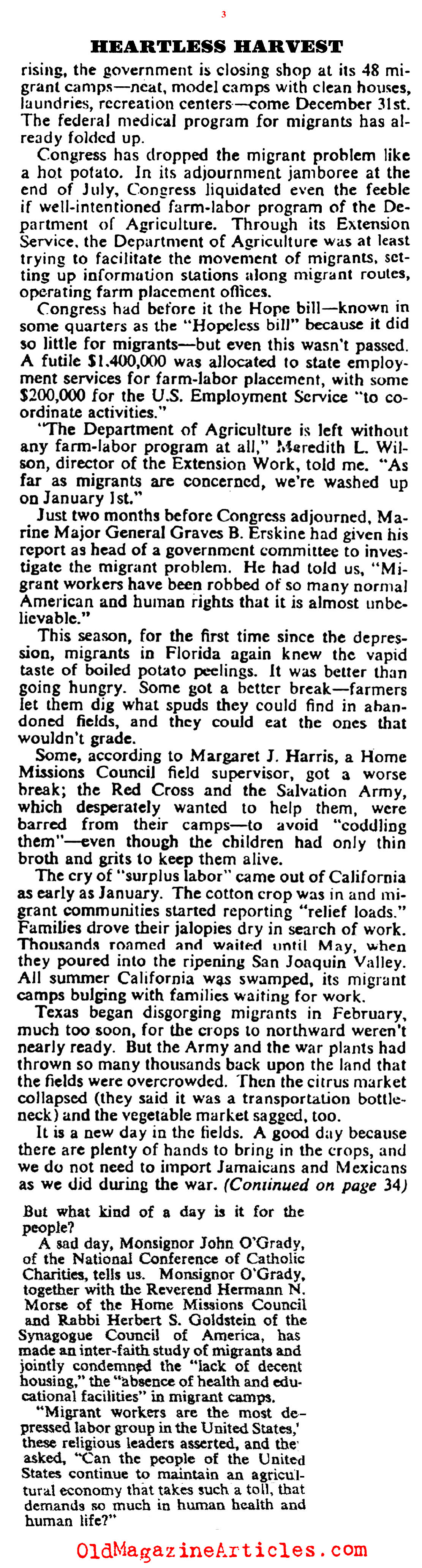 Exploited Farm Labor During World War Two (Collier's Magazine, 1947)