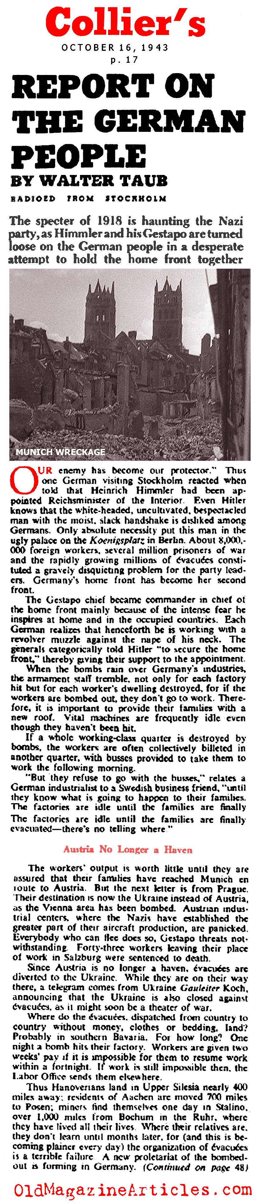 WW2 GERMAN HOME FRONT ARTICLE,WW2 NAZI HOME FRONT ARTICLE 1943 ...