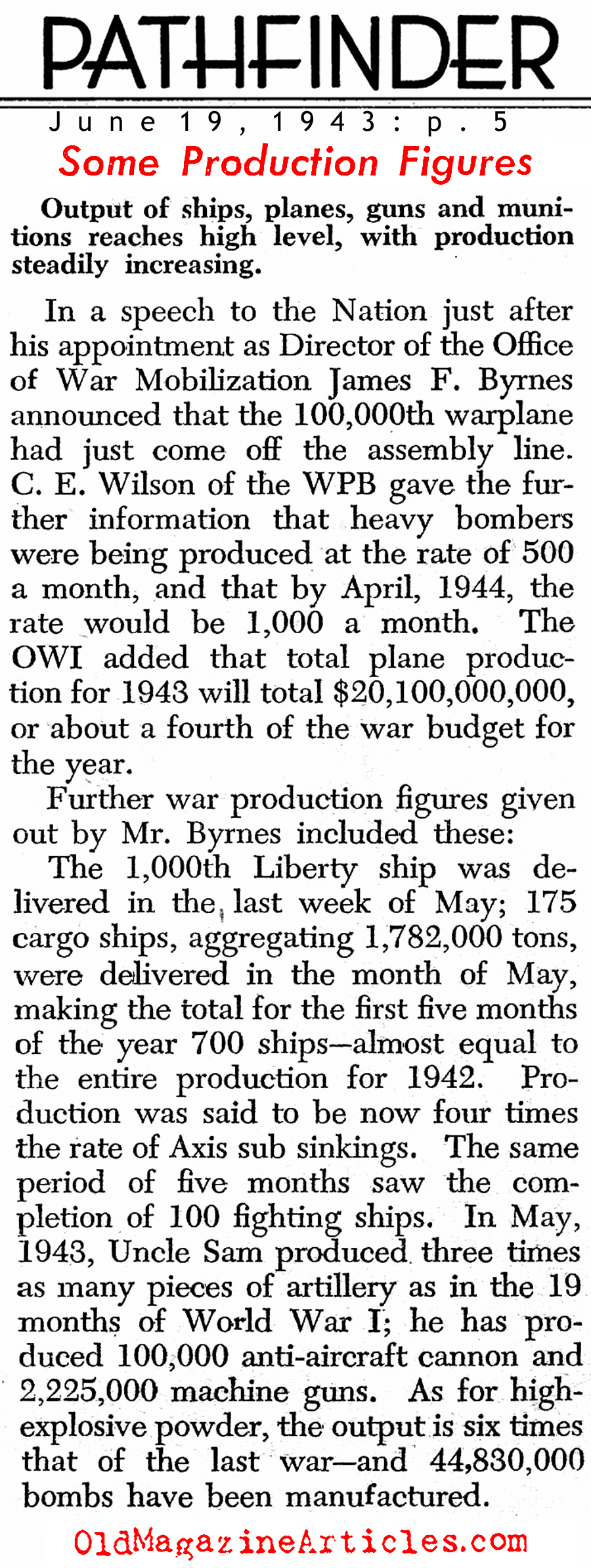 Mid-War Production Figures (Pathfinder Magazine, 1943)