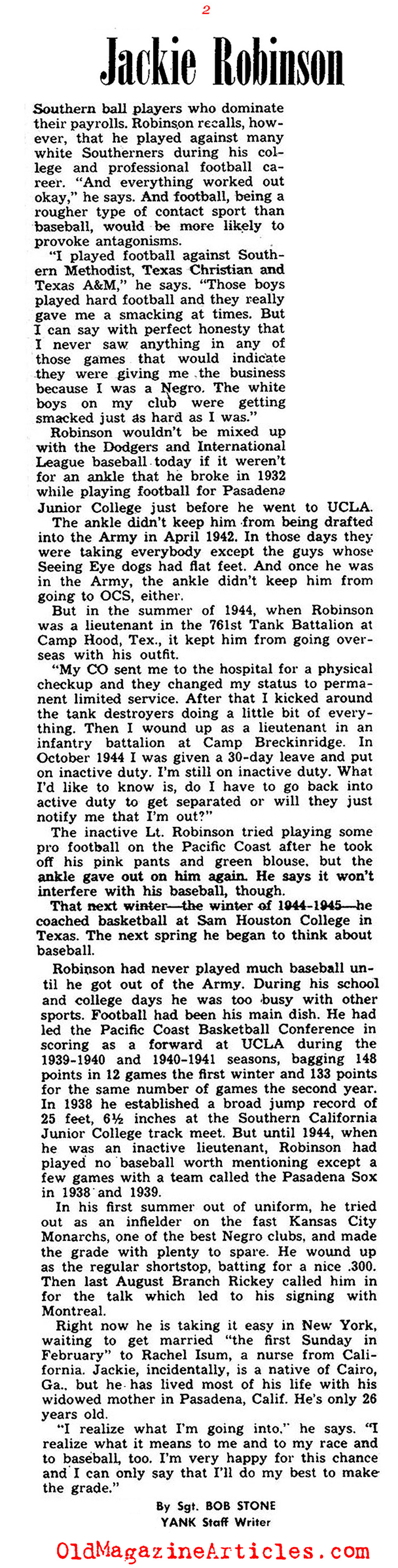 Jackie Robinson: In the Beginning (Yank Magazine, 1945)