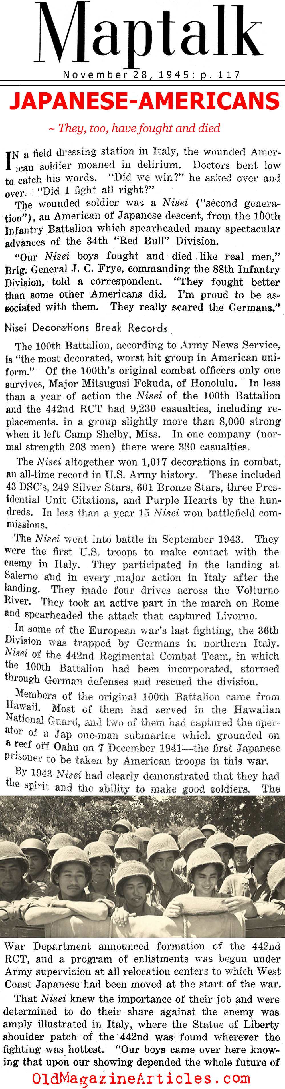 ''They, Too, Have Fought and Died'' (Maptalk, 1945)
