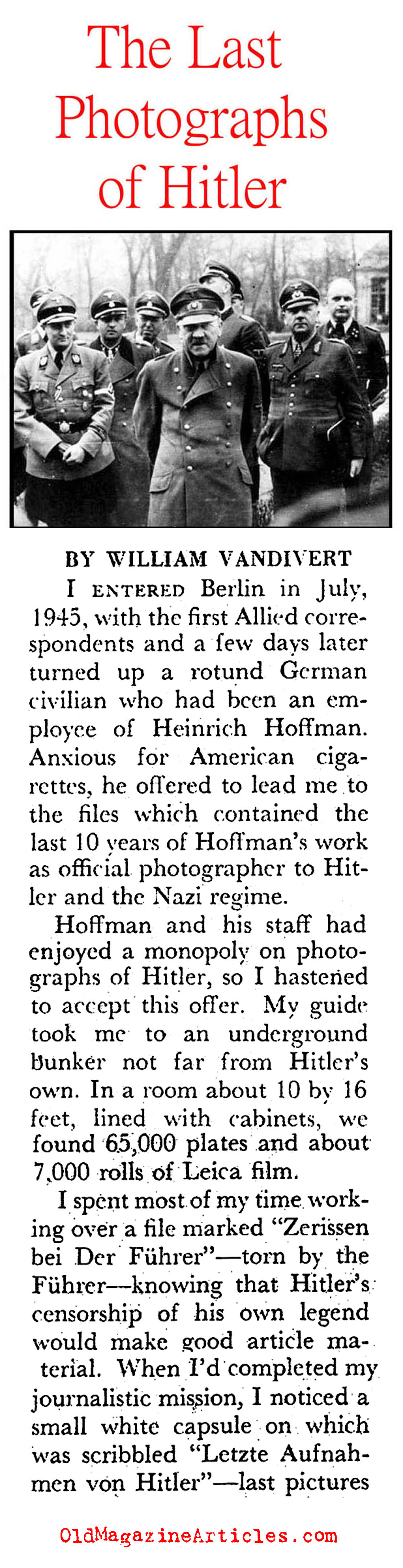 The Last Photographs of Hitler (Pageant Magazine, 1952)