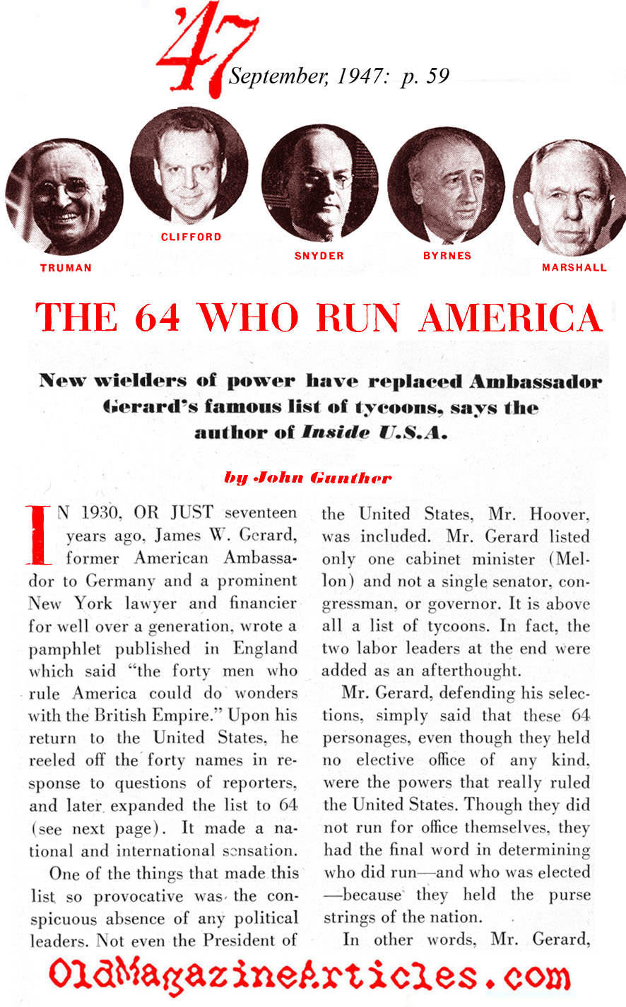The Most Powerfull Men in Cold War Washington ('47 Magazine)