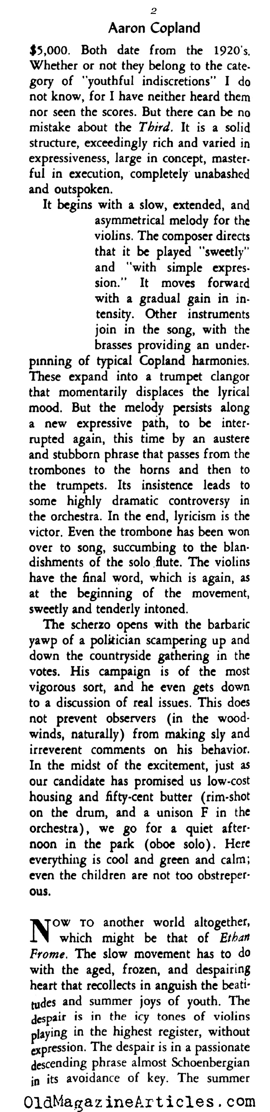 'Third Symphony' by Aaron Copland  (Rob Wagner's Script, 1948)