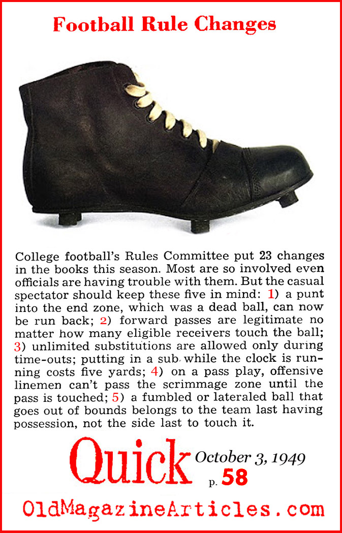 Changes Added to the College Football Rulebook (Quick Magazine, 1949)
