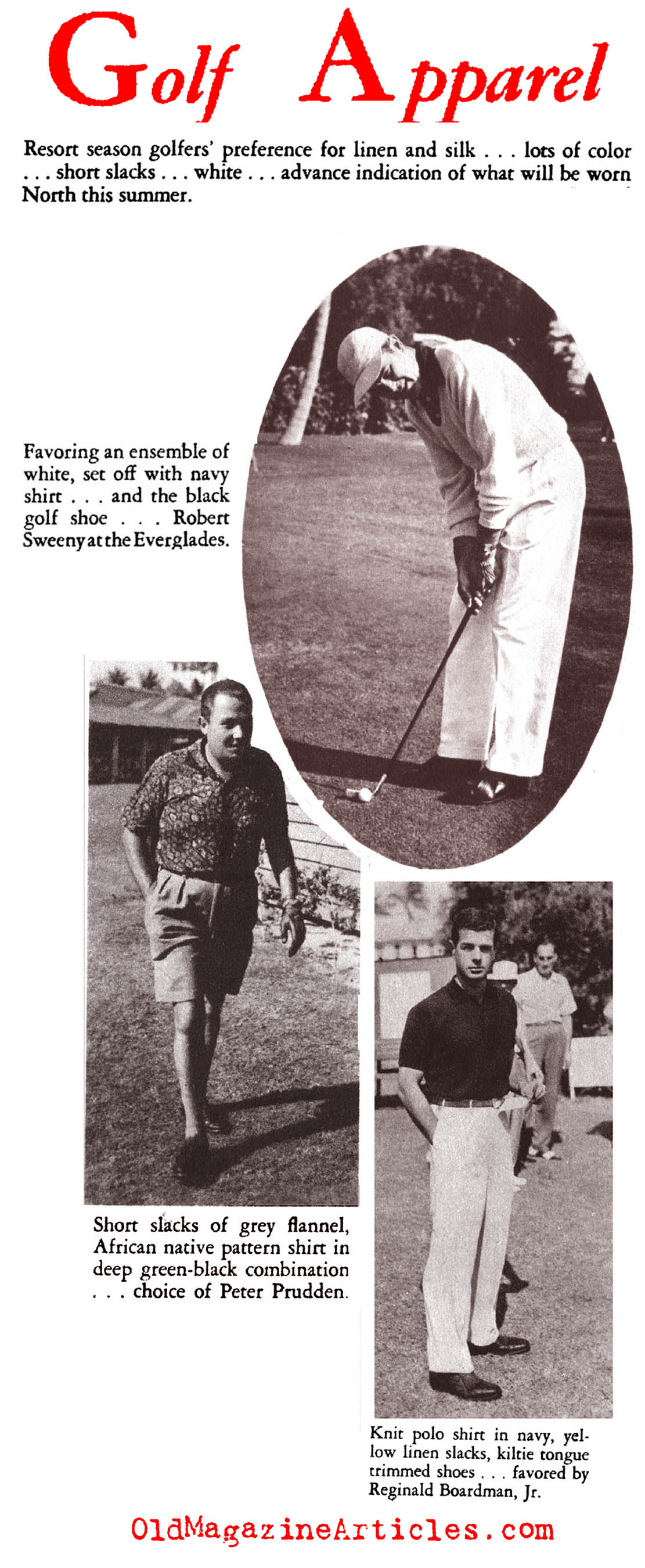 1950s Golf Attire (Gentry Magazine, 1953)