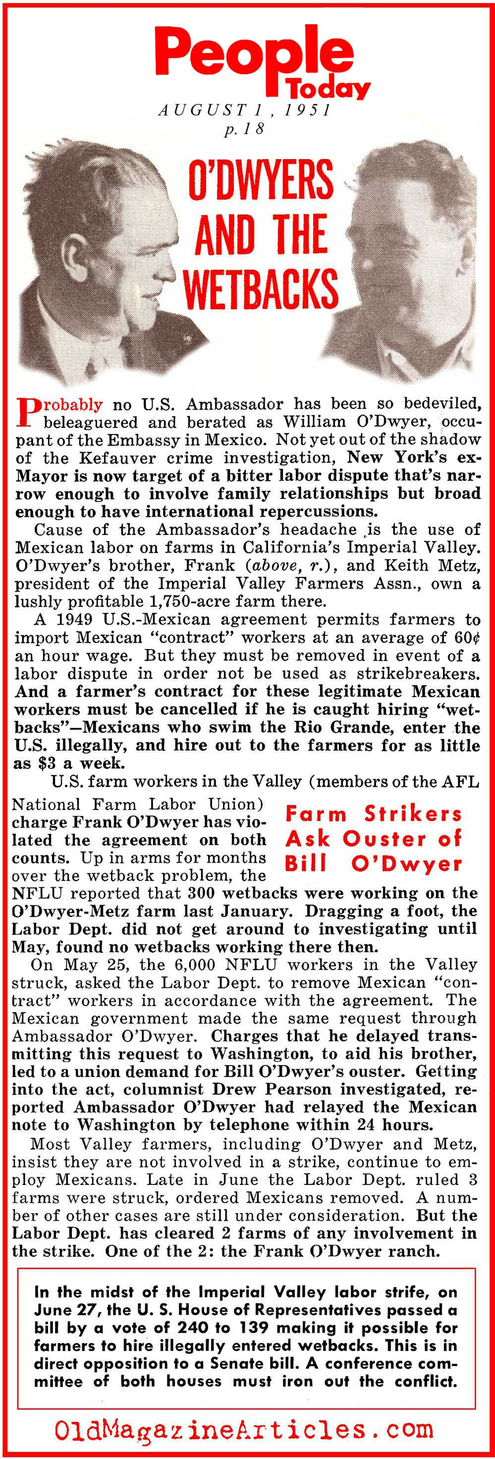 Congress OKs the Hiring of Illegal Farm Workers (People Today Magazine, 1951)