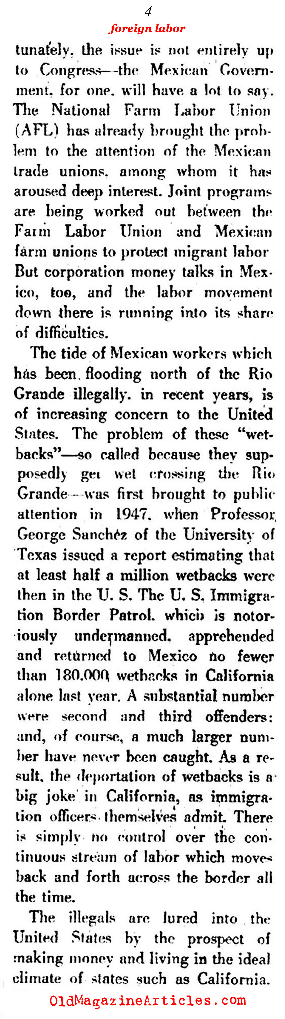 The Origins of <em>''Undocumented''</em> Labor (The New Leader, 1951)
