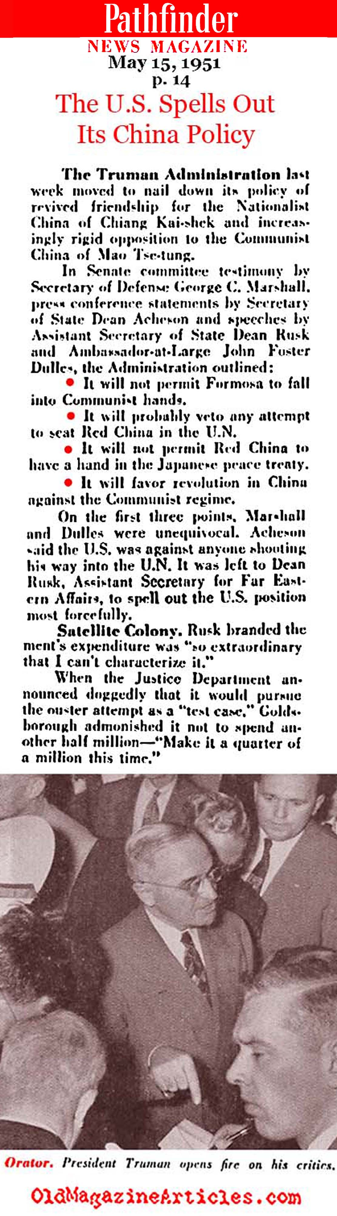 Truman's China Policy for 1951 (Pathfinder Magazine, 1951)