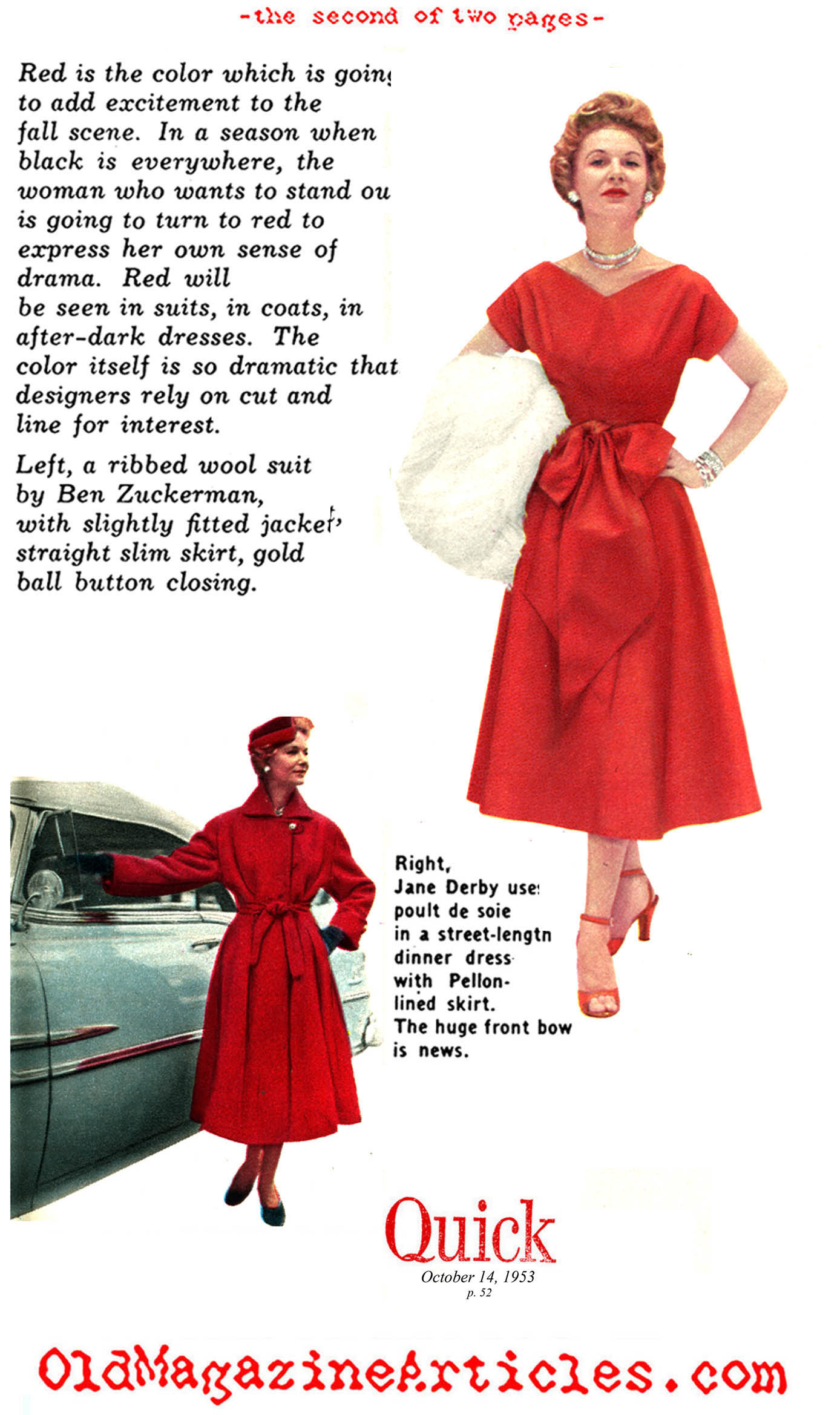 1950S FASHION COLOURS,COLORS IN 50S FASHION,RED IN FIFTIES