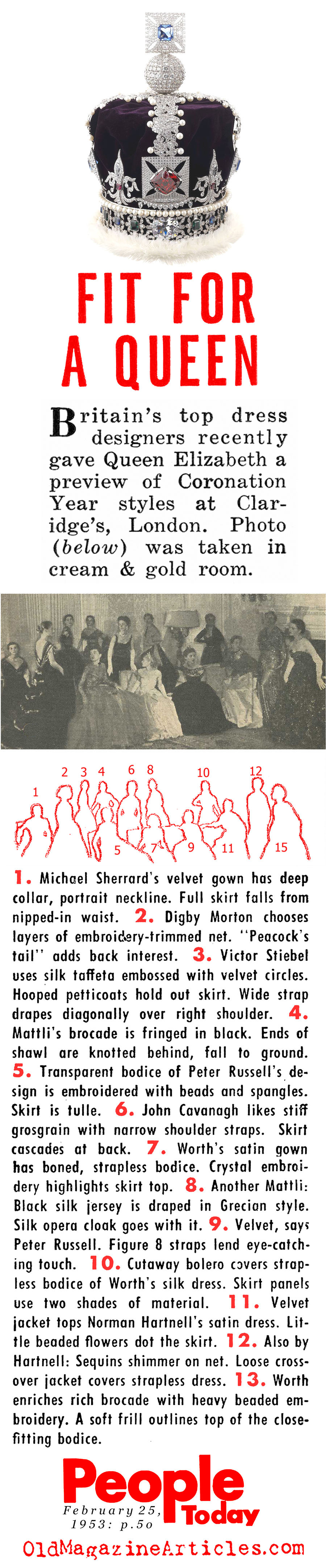Coronation Gowns (People Today, 1953)