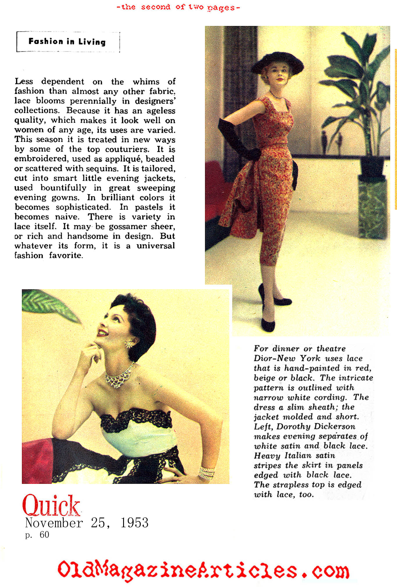 1950S LACE,LACE FASHION ARTICLE,POPULARITY OF 1950S LACE