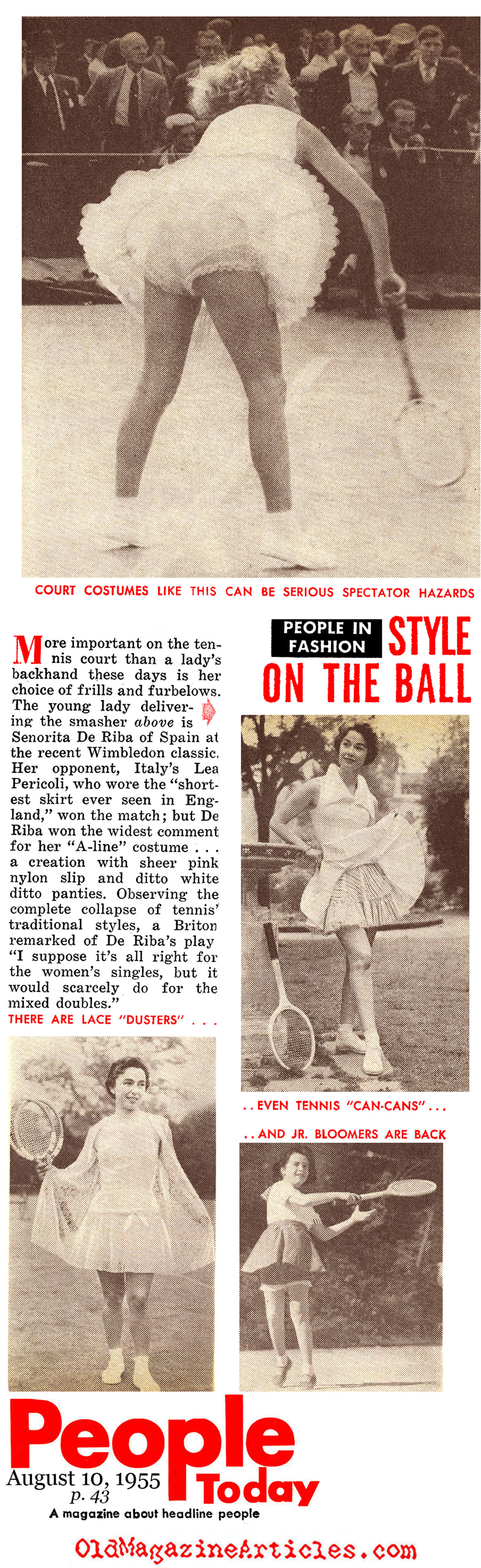 Tennis Skirts of the Mid-Fifties (People Today Magazine, 1955)