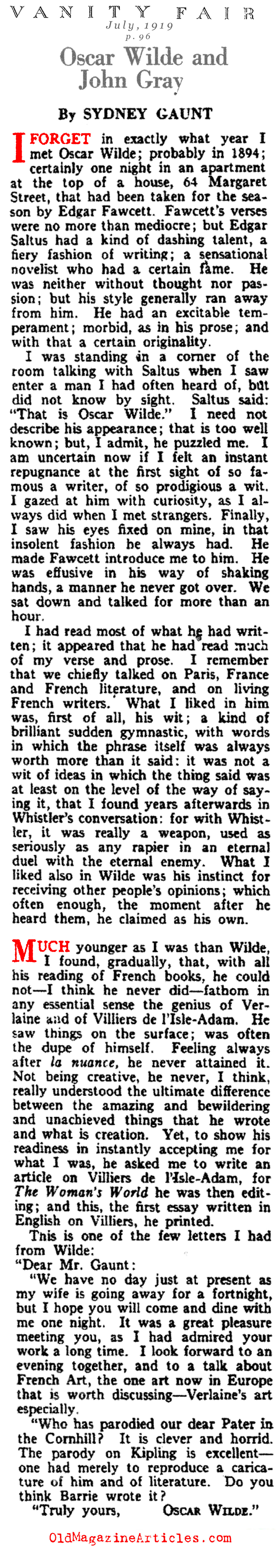 Oscar Wilde: a Personal Remembrance (Vanity Fair Magazine, 1919)