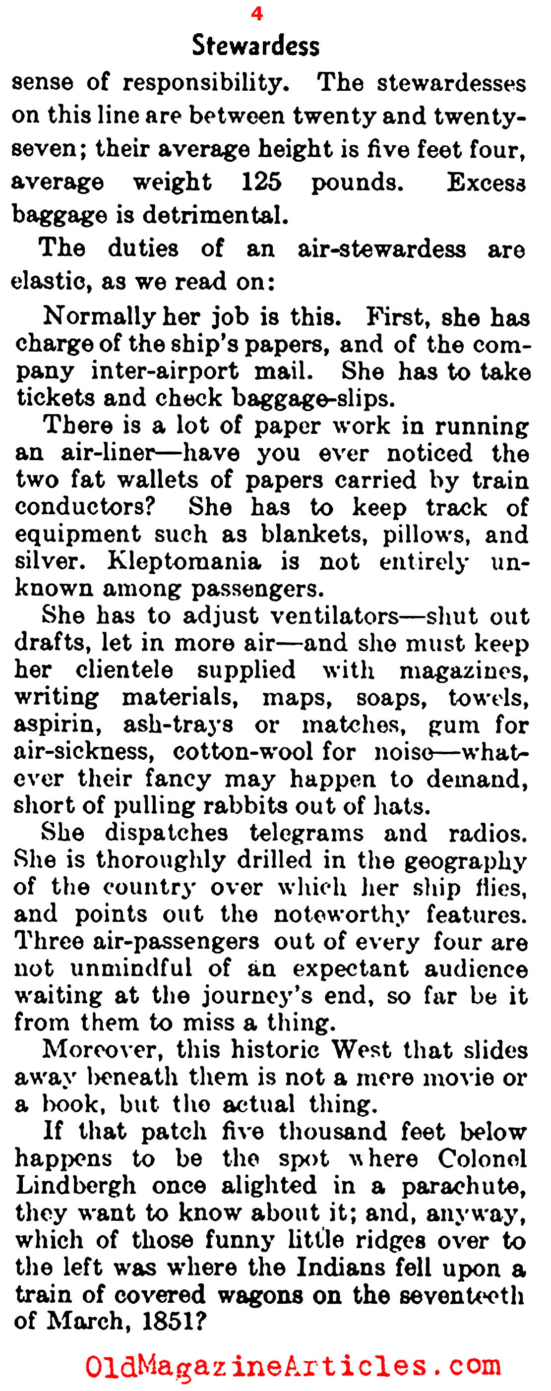 The Earliest Airline Stewardesses (The Literary Digest, 1933)