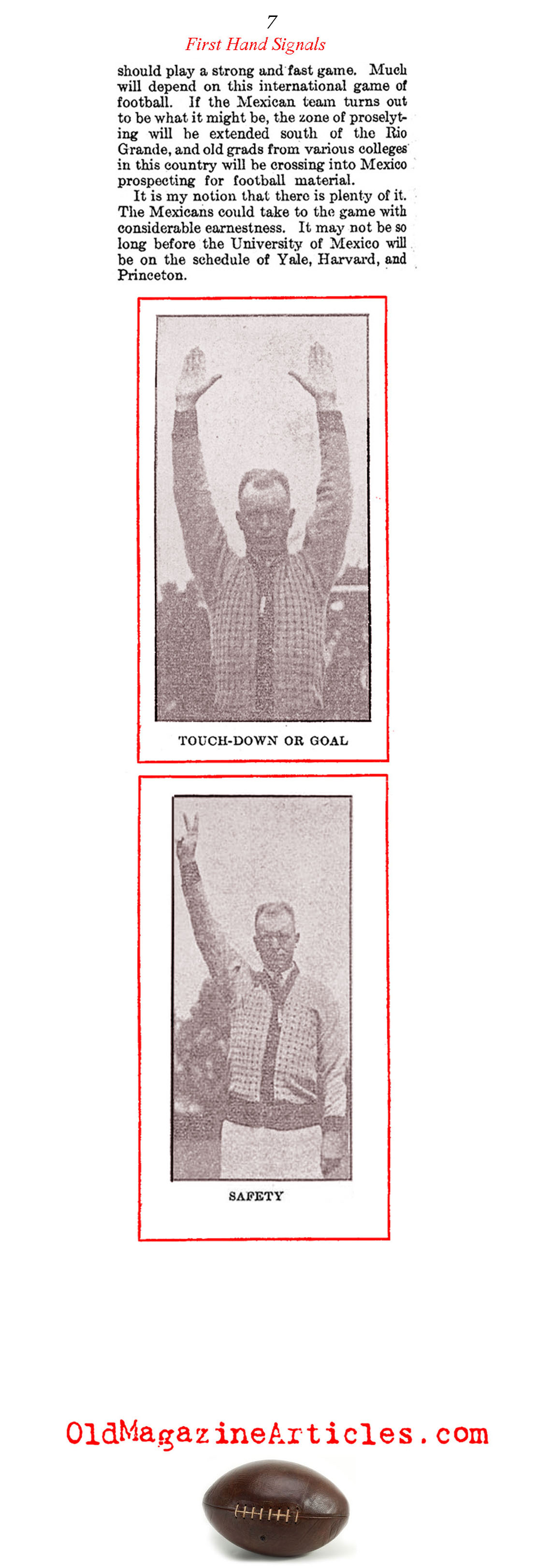 The Very First Football Referee Hand Signals (Literary Digest, 1929)