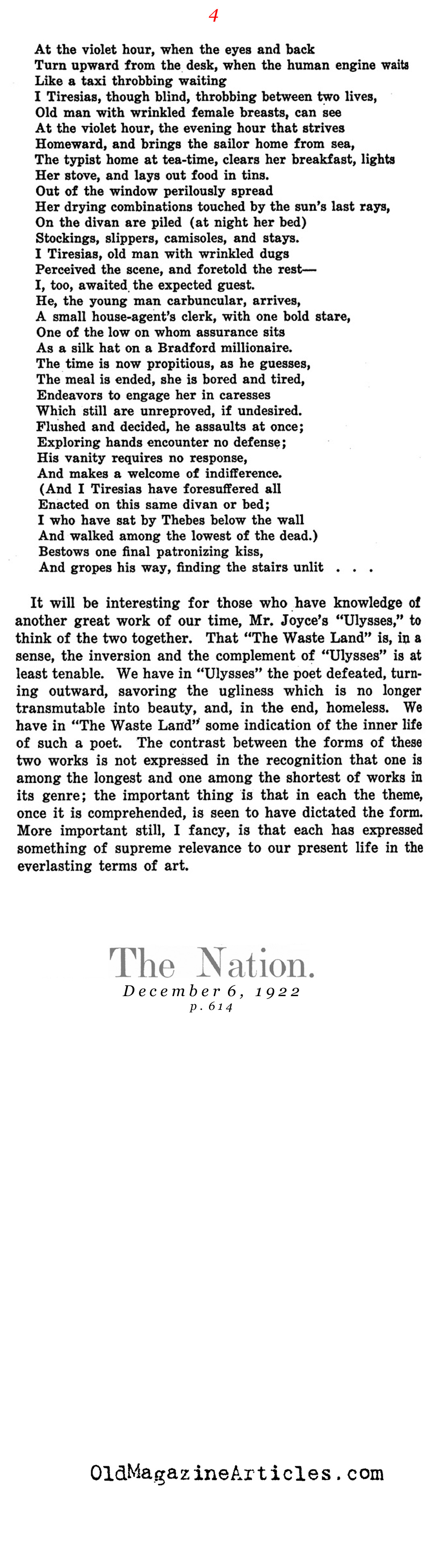 Reviewed: The Waste Land (The Nation, 1922)