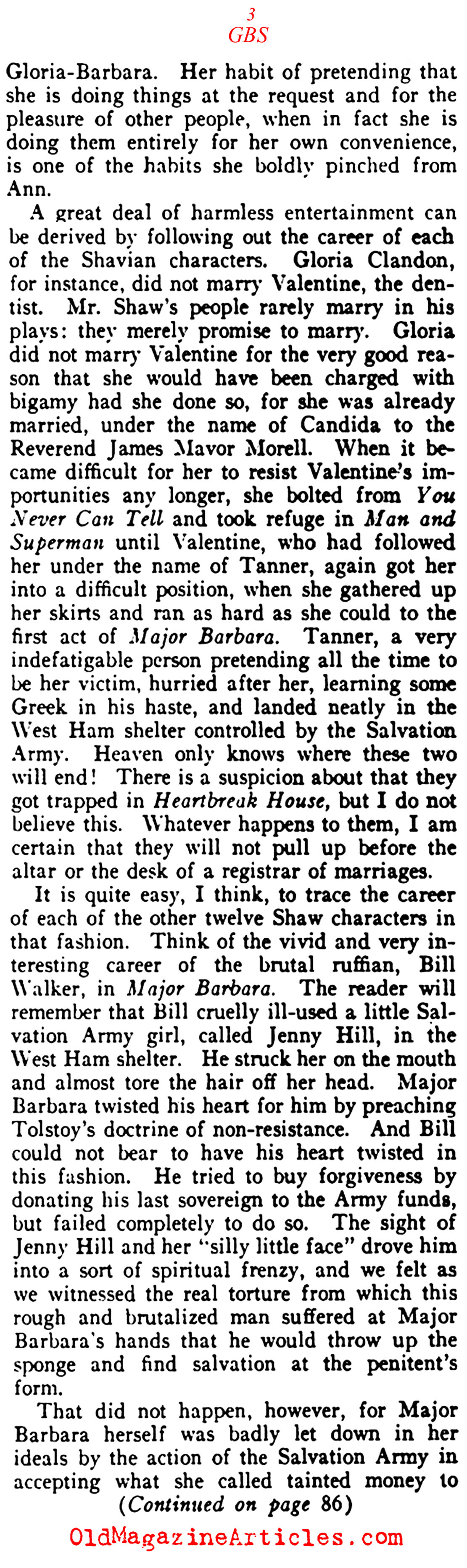 George Bernard Shaw and Literary Recycling (Vanity Fair, 1921)