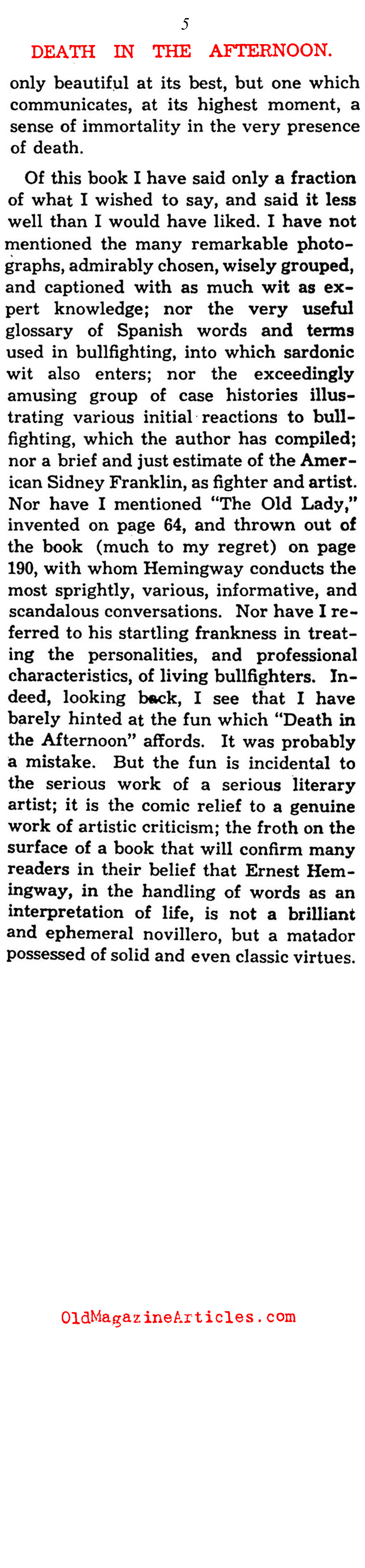 Hemingway's 'Death in the Afternoon' (Saturday Review of Literature, 1932)