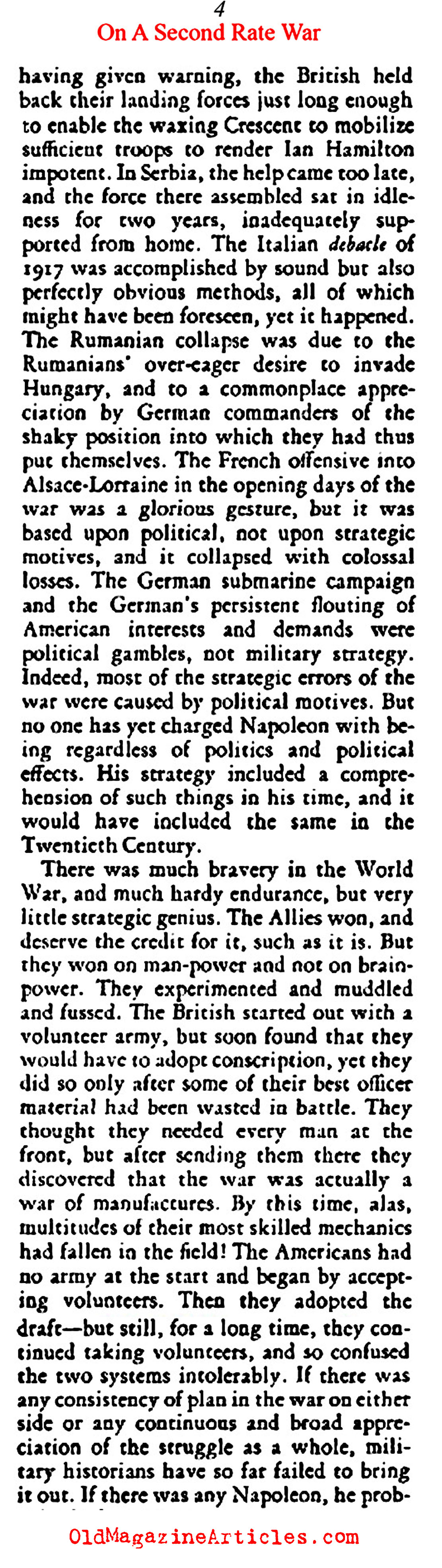 It was a Second Rate War (The American Mercury, 1924)