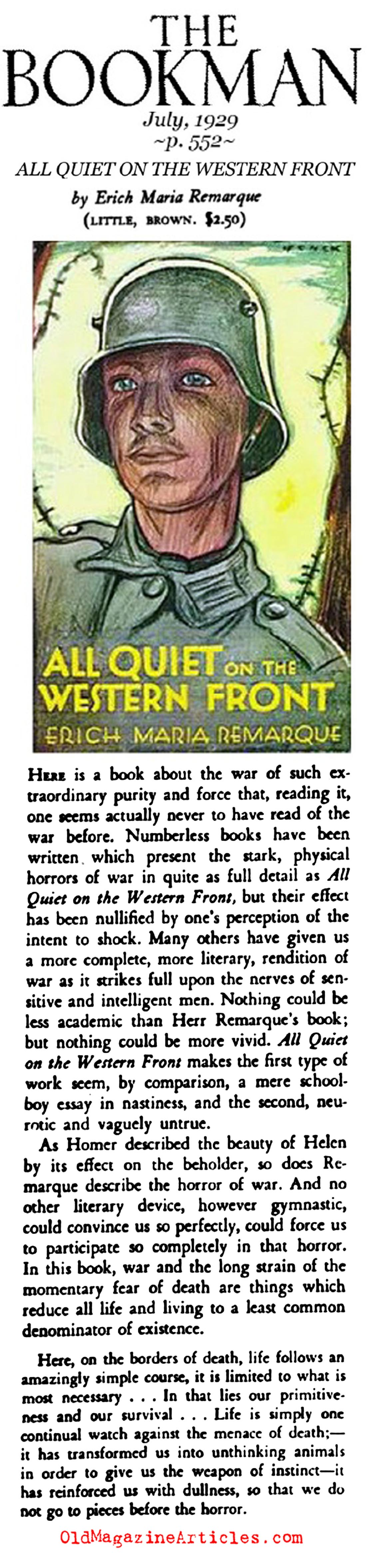 a descriptive review of all quiet on the western front by erich maria remarque Essay writing related to all quiet on the western front essay topics have  written by erich maria remarque,  he arrives at the western front and later.