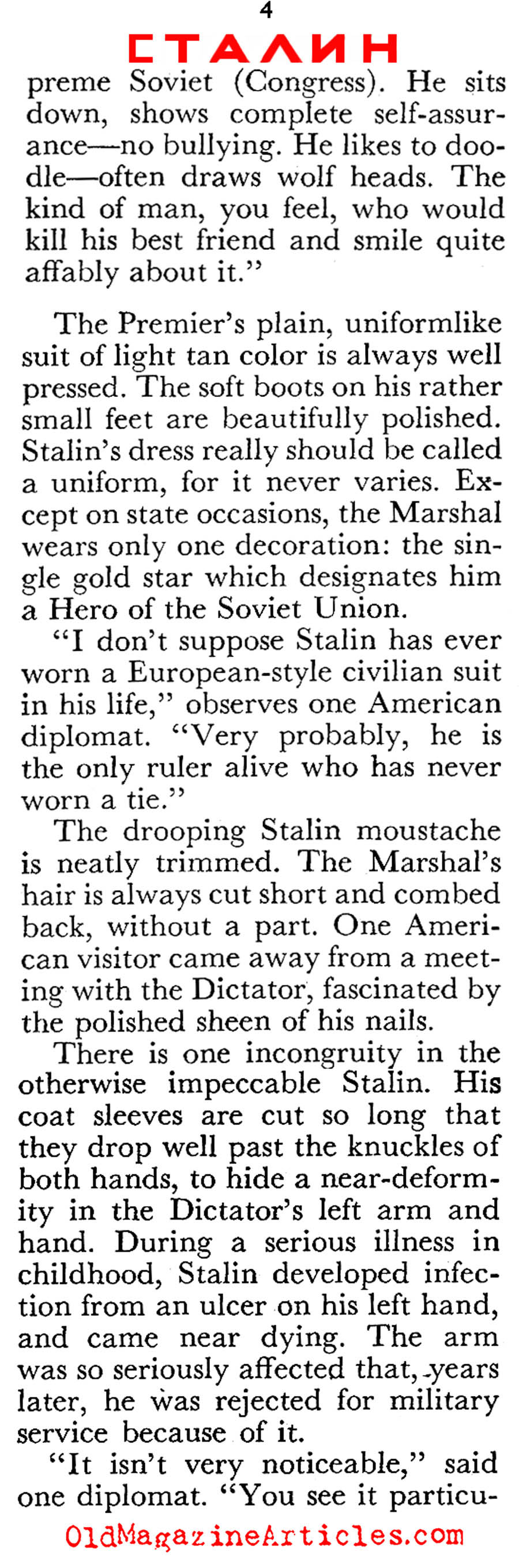 Stalin at 72 (Coronet Magazine, 1952)