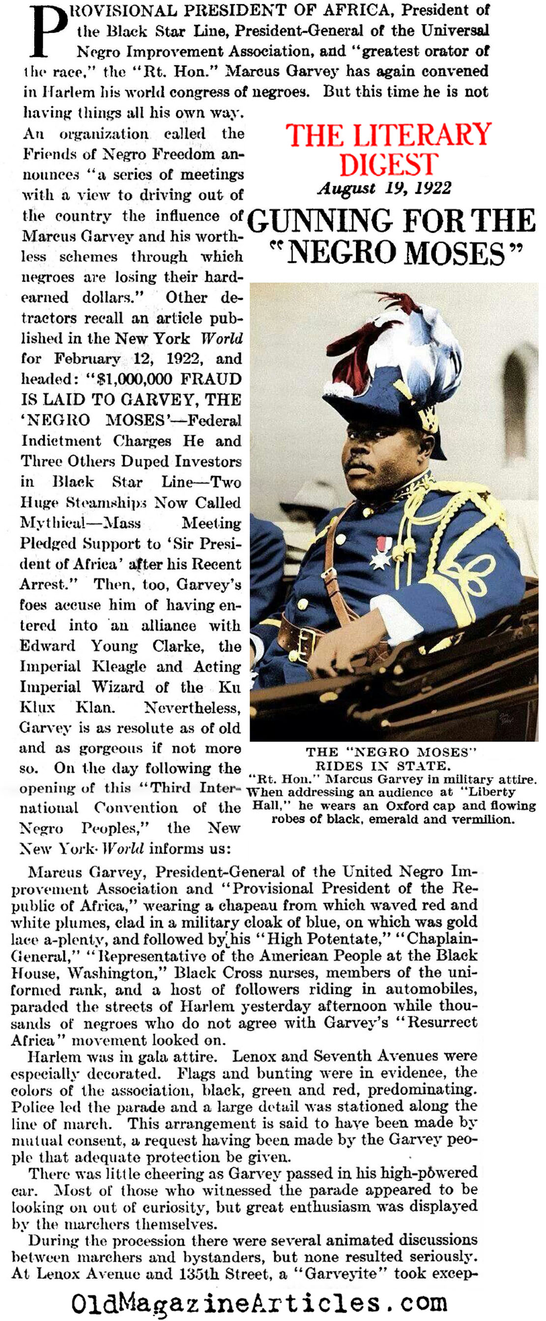 Marcus Garvey:  the Negro Moses (Literary Digest, 1922)