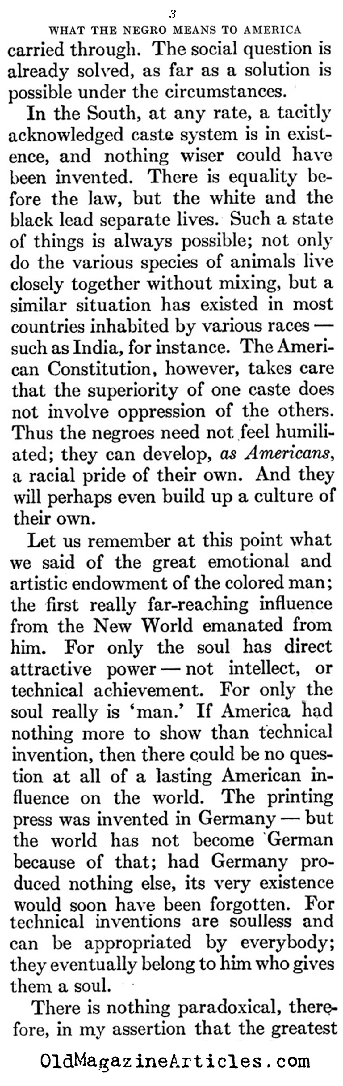 ''What the Negro Means to America'' (Atlantic Monthly, 1929)