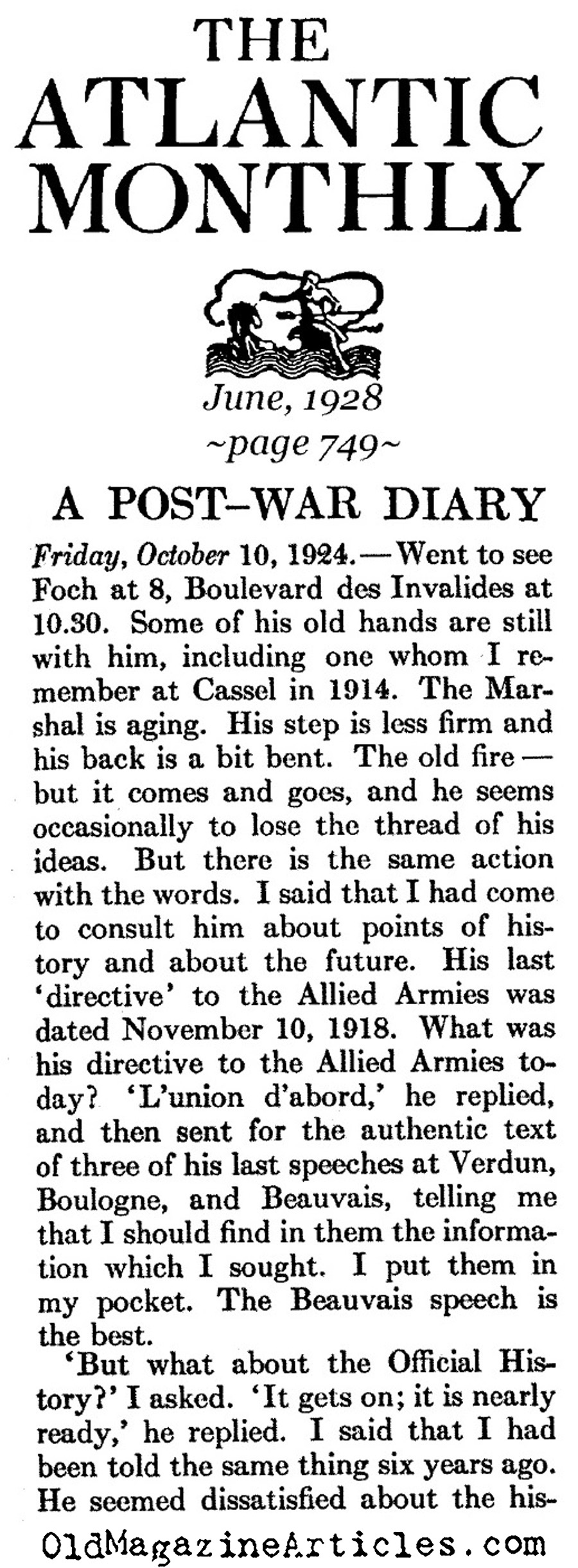 Post-War Diary (Atlantic Monthly, 1928)