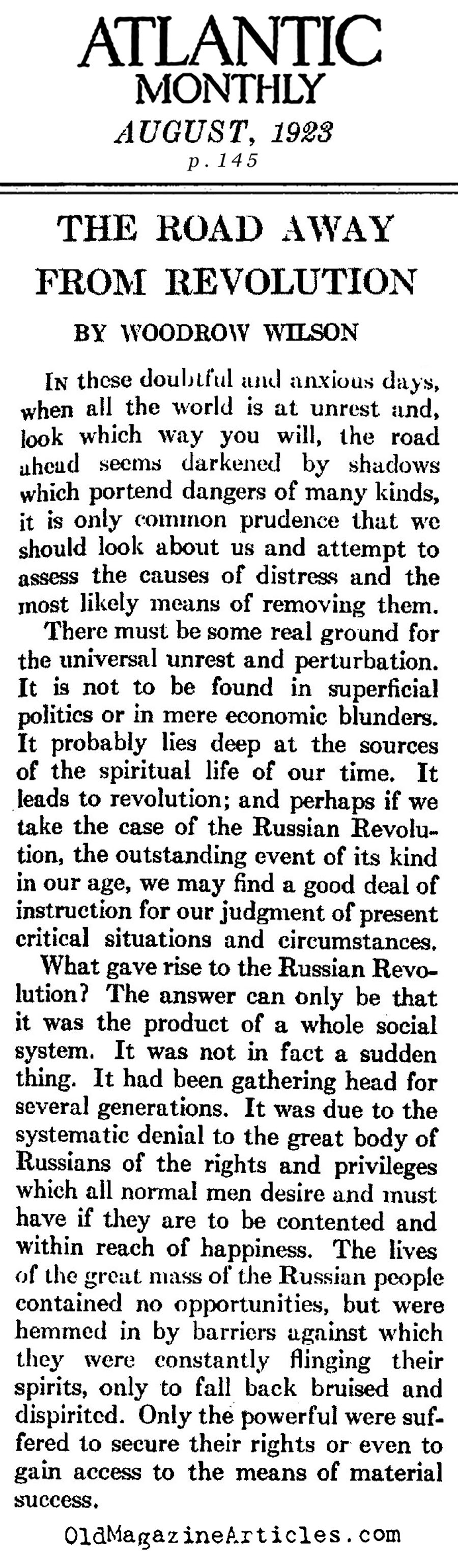 woodrow wilson response to the russian revolution woodrow woodrow wilson on the russian revolution and the red scare atlantic monthly 1923