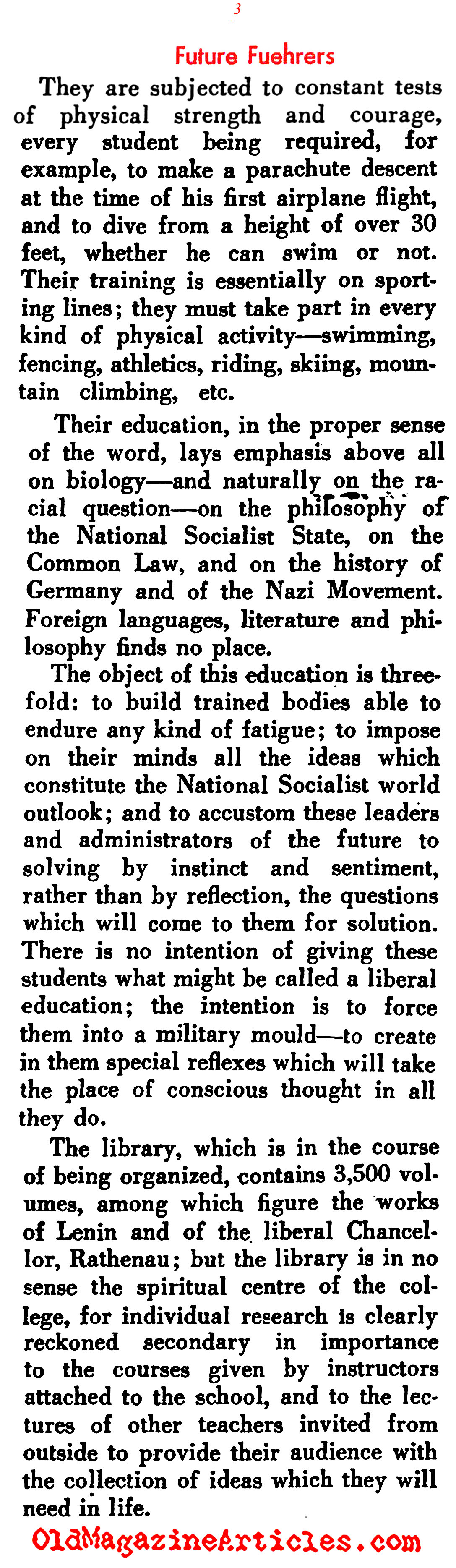 The Adolf Hitler Schools (Current History  Magazine, 1939)