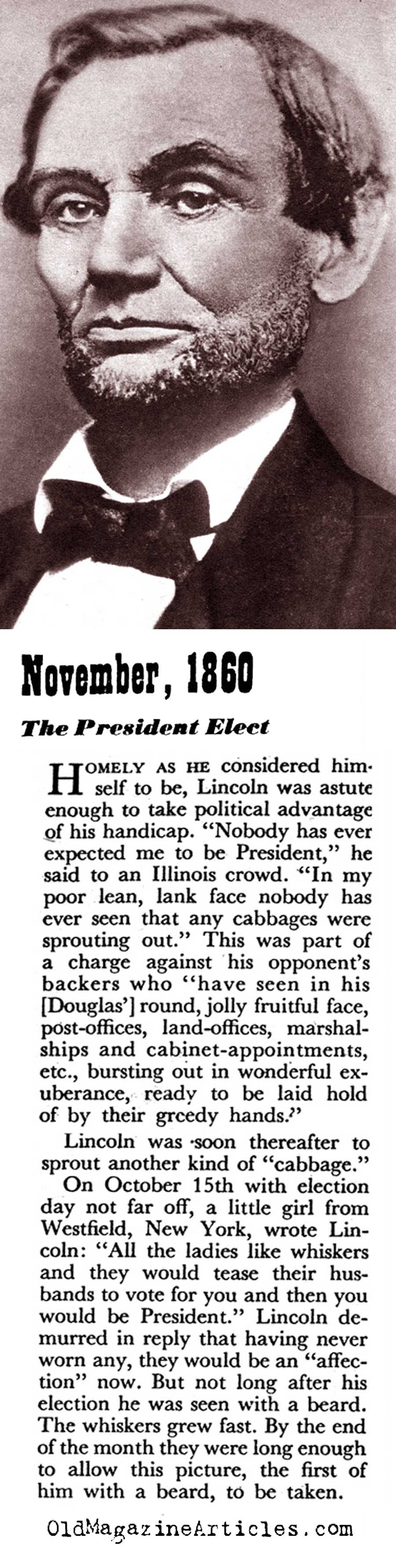 The Age Progression of President Lincoln (Coronet Magazine, 1945)