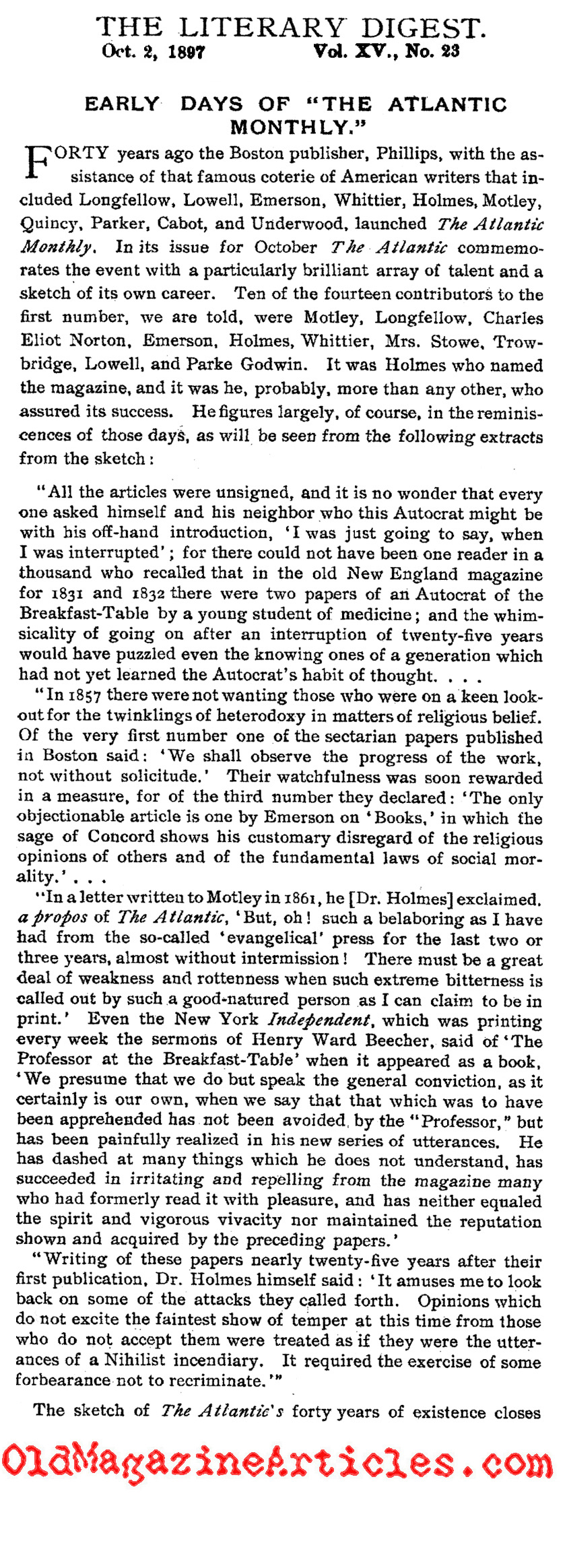 <em>The Atlantic Monthly</em>in the Beginning (Literary Digest, 1897)