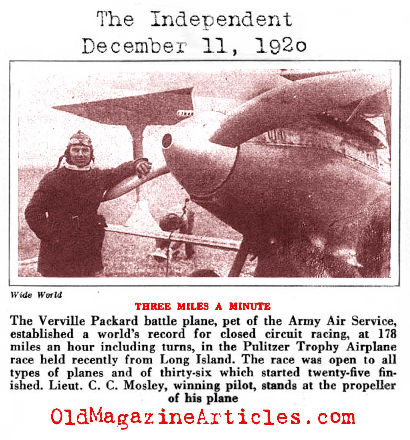 The Verville Packard Battle Plane: 178 Miles Per Hour (The Independent, 1920)